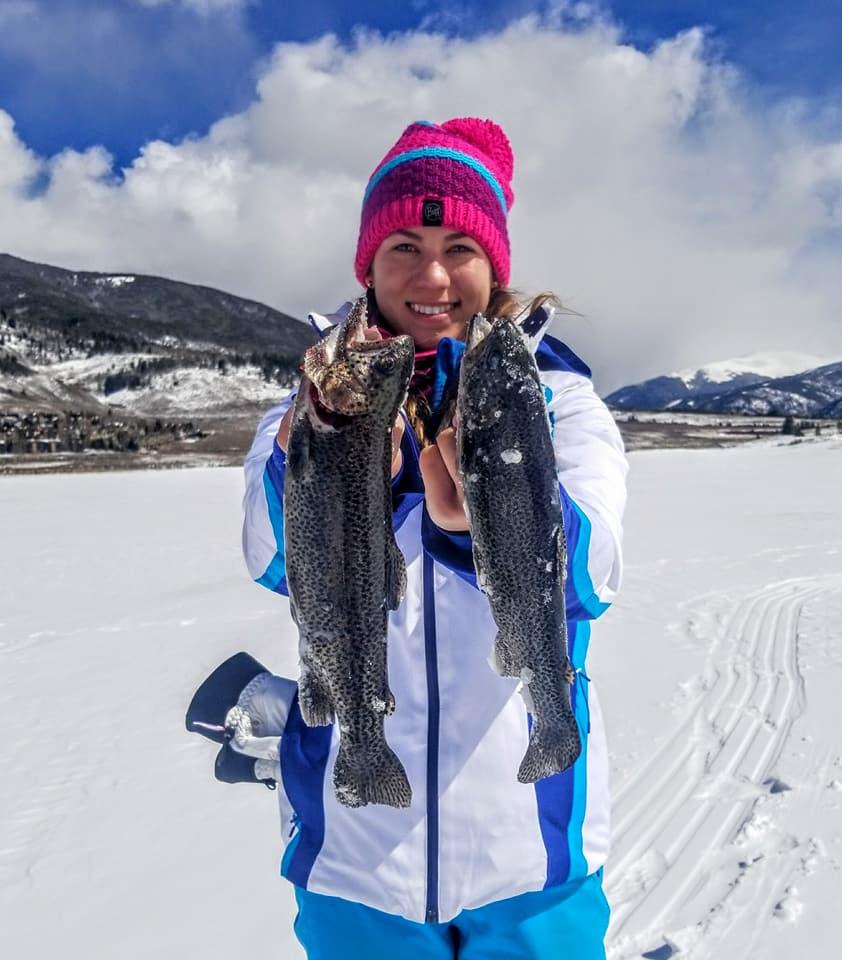 beautiful day ice fishing big bows